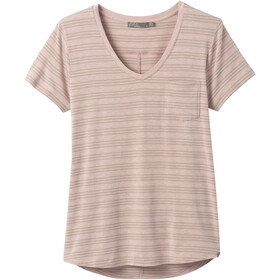 Prana Foundation Short Sleeve V Neck Shirt Women sparrow heather stripe